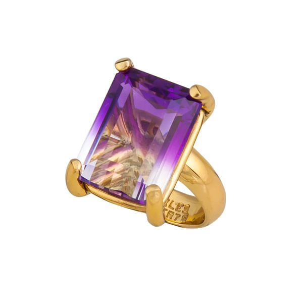 Alchemia Bi-Color Amethyst Prong Set Adjustable Ring