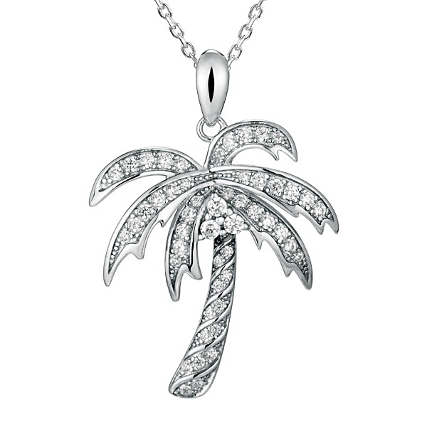 Sterling  Silver Crystal Palm Tree Pendant