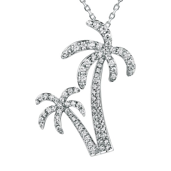 Sterling Silver Crystal Palm Trees Pendant