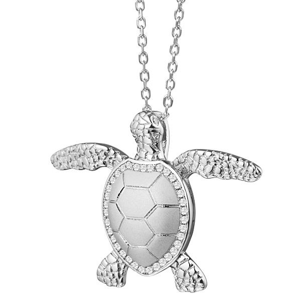 Sterling Silver, High Polish & Matte Finish Turtle Pendant with Crystals