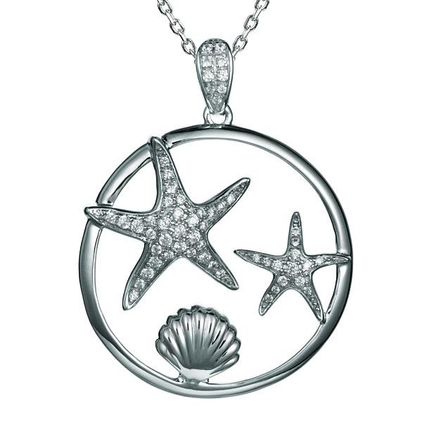 Sterling Silver, Rhodium Plated Crystal Starfish Underwater Pendant