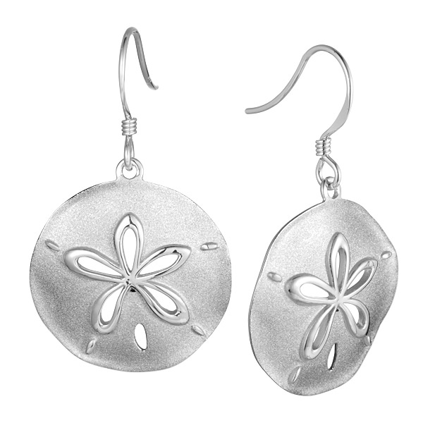 Sterling Silver, Rhodium Plated Dual Finish Sand Dollar Earrings