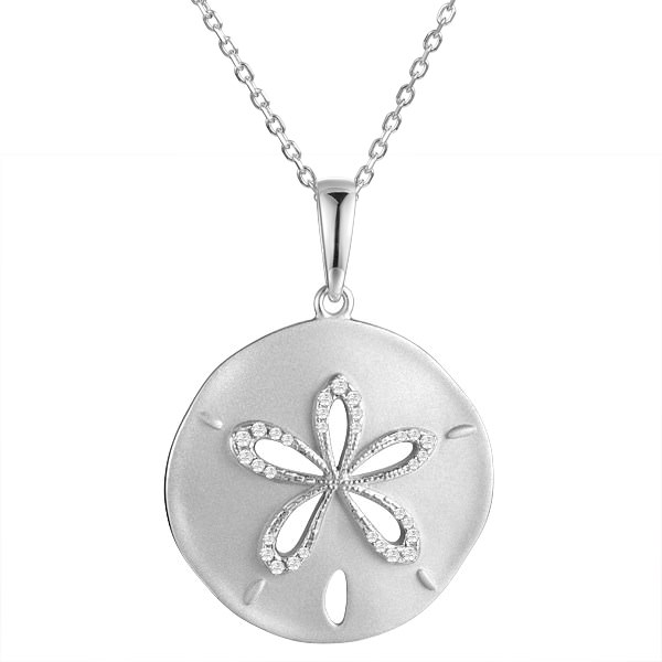 Sterling Silver, Rhodium Plated Dual Finish Sand Dollar Pendant