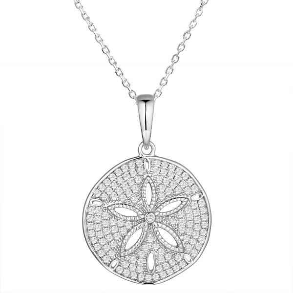 Sterling Silver, Rhodium Plated, Fully Loaded Crystals Sand Dollar Pendant