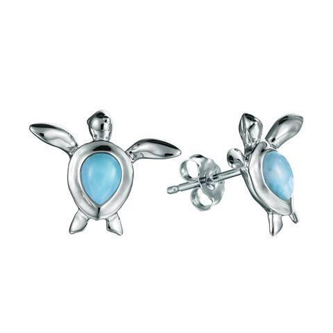 Larimar Honu Pear Post Earrings