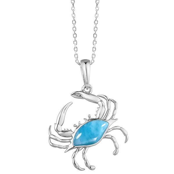 Larimar Tilted Blue Crab Pendant